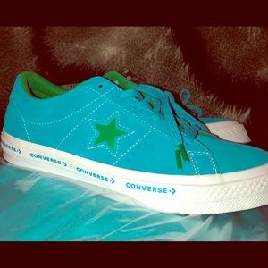 ⭐️CONVERSE SHOES TURQUOISE & GREEN 6y/8.5 women's
